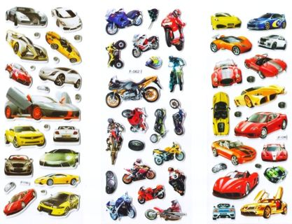 NEW Sports Cars & Motorcycles Puffy PVC Stickers Vibrant Detailed Automobiles FREE SHIPPING