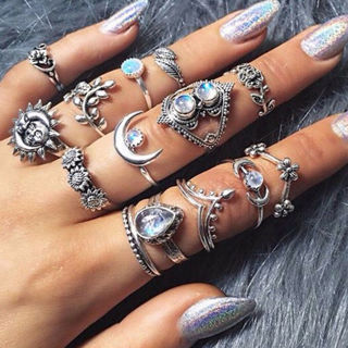 [GIN FOR FREE SHIPPING] 14Pcs BOHO Moon Sun Knuckle Opal Finger Ring Set Leaf Flower Midi