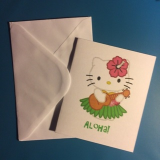 Sanrio Hello Kitty Blank Note Card w/Envelope ~ ALOHA! ~ NEW!