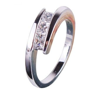 BN Silver Plated Princess Cut White CZ Engagement Ring