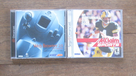 Lot of 2 Sega Dreamcast CDs, Game, NFL Quarterback Club 2000, Web Browser 2.0, EX, FREE