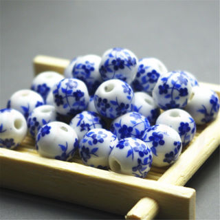 40Pcs Elegant Ceramic Round Blue And White Porcelain Beads Jewelry Material 8mm
