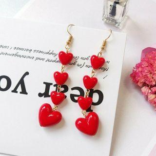 ✿ Red Heart Long Dangle Earrings  -NEW