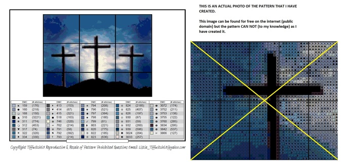 Crosses Against a Blue Sky Cross Stitch Pattern