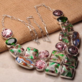 PRETTY DICHROIC GLASS SILVER PLATED NECKLACE 22""