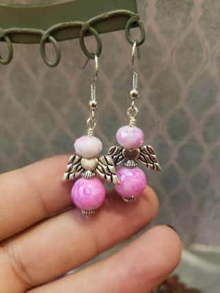 Hand made Angel earrings ~glass bead stainless Steel earwires