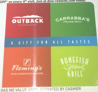 $200 OUTBACK GIFT CERTIFICATE Also->Flemings, Carrabbas Bonefish Grill egift certificate! Emailed