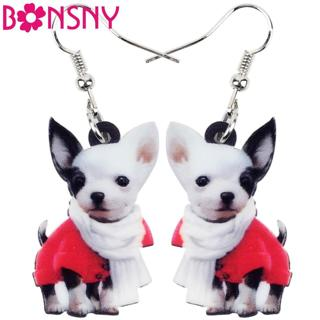 Bonsny Drop Acrylic Scarf Chihuahua Dog Earring Big Long Dangle Animal Jewelry For Girl Women Lady