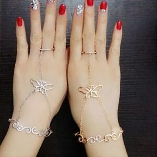 Butterfly Slave Chain Link Finger Ring Hand Harness Bracelet Fashion Women Gift