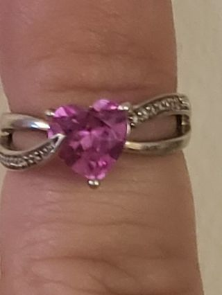 KAY JEWELERS Sterling Silver ,Pink Sapphire & Diamond ring size 4.25