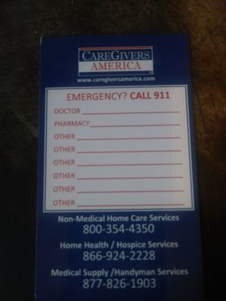 Care Givers Emergency Magnet