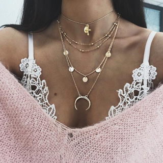 Women Charm Round Moon Chain Pendant Gold Silver Necklace Personality Multilayer Clavicle Necklace
