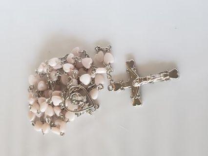 Vintage blush pink heart Catholic Rosary