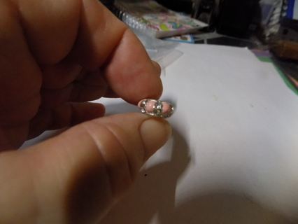 Silvertone slider bead with pink stones & clear rhinestones
