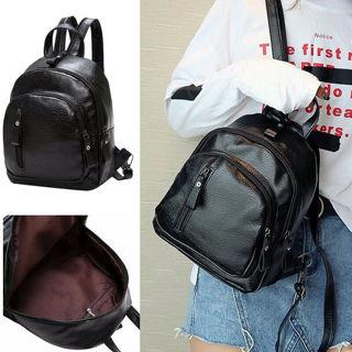 Women Ladies Small Mini Black School Backpack Travel Shoulder Bag Rucksack ILC