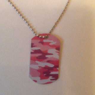 Pink camo dog tag necklace