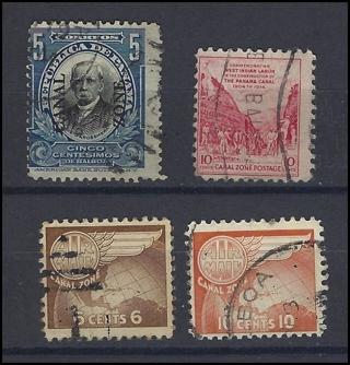 Canal Zone stamps (4), U/F, with Scott IDs, est CV $6.25