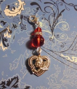 New~Heart Red Crystal Clip-On Zipper Pull