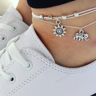 2 Pcs/Set Classic Elephant Sun Beads Leather Chain Double Layer Silver Anklet Set Women Personality