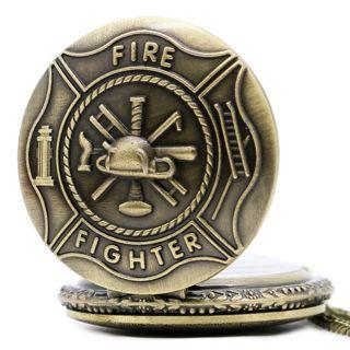 Vintage Fire Fighter Quartz Pocket Watch Necklace