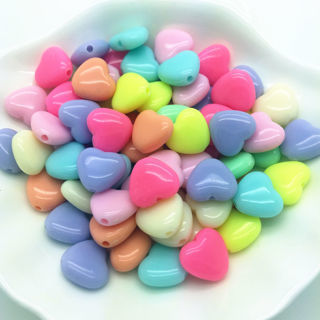 50PCs NEW DIY 18mm Multicolour Acrylic Heart Pearl Loose Beads Jewelry Making