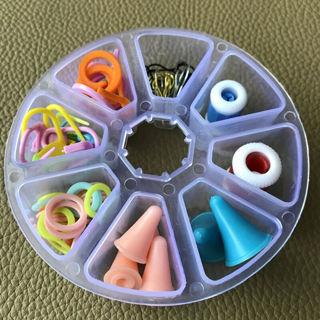 Basic Knitting Tools Hook Buckle Mark Needle Crochet Plastic Case Knit Kit 1 Set