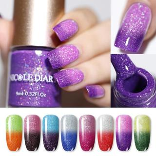 NICOLE DIARY Thermal Nail Polish Glitter Temperature Color Changing Water-based Manicure Varnish S