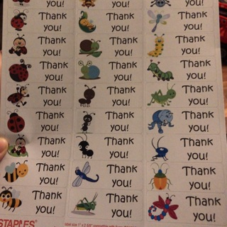 Bug thank you labels