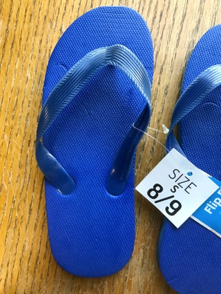 Kids Flip Flops (Navy Blue) Size 8-9 With Tags