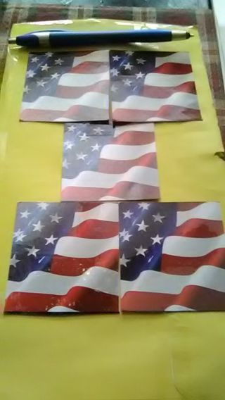 DONS DAILY DEAL 5 GLOSSY VINYL AMERICAN FLAG DECALS