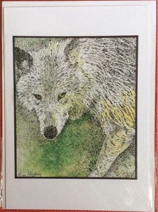 """WOLF!   5 x 7"""" Art Card by artist Nina Struthers - GIN ONLY"""