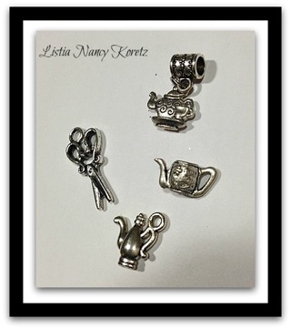 Tibetan Silver teapots and scissor charms