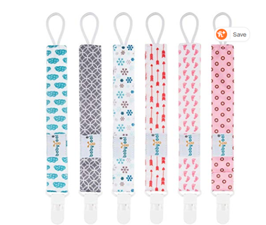 Babygoal Pacifier Clips for Girls, 6 Pack Pacifier Holder Fits Most Pacifier Styles &Teething Toys