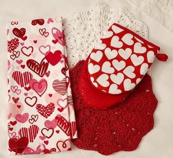 """Crochet 2 - 9"""" Dish Cloth/Wash Cloths 1 Dish Towel & 1 Oven Mitt"""