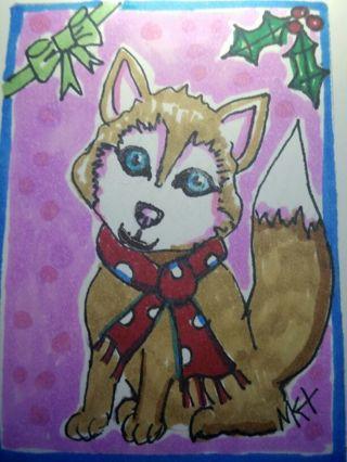 Tan Husky - #209♡ Original Drawing by MK ATC / ACEO