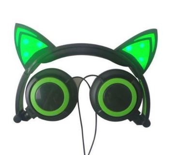 NEW Light Up Glowing LED Kitty Cat Headphones Over Earphones 5 Feet Cable FREE SHIPPING