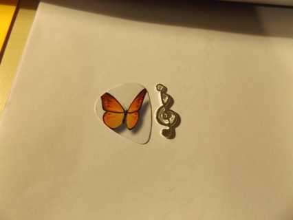Butterfly Pick and Treble Clef Charm