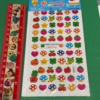 Mushrooms and Fruits Kawaii Epoxy Sticker sheet NEW