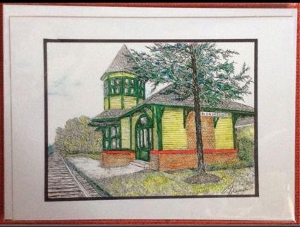 """DICKENSON RAILROAD DEPOT - 5 x 7"""" art card by artist Nina Struthers - GIN ONLY"""