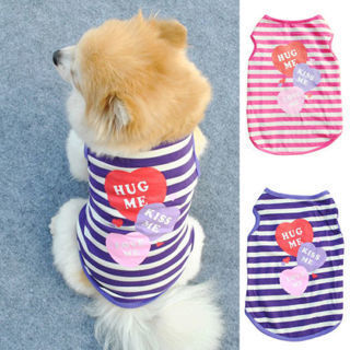 Cute Pet Dog Summer Costumes Puppy Cat Apparel Striped HUG ME Print Vest T-shirt