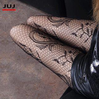 2019 Hot Fashion Sexy Women's Black Fishnet Stockings Pattern Jacquard Calcetines Leg Warmers