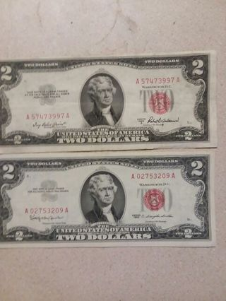 2 nice red seal 2 dollar bills