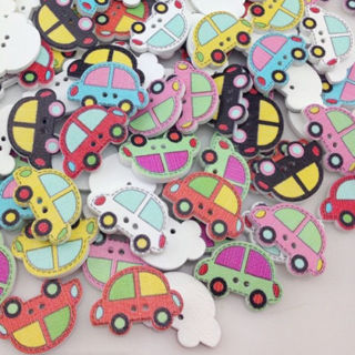 [GIN FOR FREE SHIPPING] 50Pcs 2 Holes Mix Car Wood Buttons Sewing