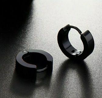 Men Punk Black Stainless Steel Earrings Stud Hoop Piercing Gothic Unisex Jewelry