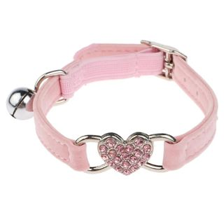 Adjustable heart shape Small dog cat pet supply elastic velvet collar with bell