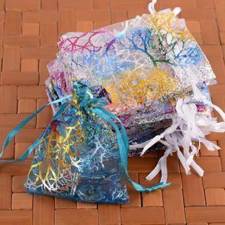 40Pcs Coralline Organza Bags Wedding Party Favour Decorative Gift Pouches