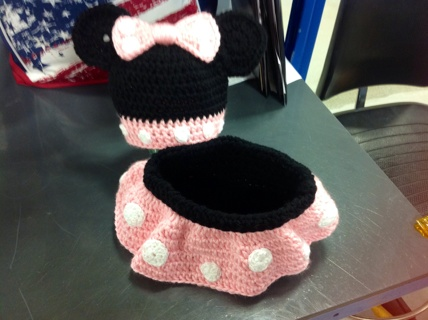 Free Handmade Baby Girl Crochet Minnie Mouse Photo Prop Outfit Size