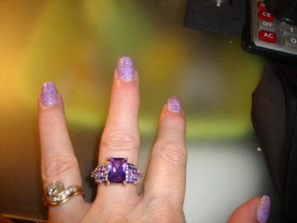 ✡Big Bold Beautiful Amethyst Sz 9 Ring!!✡