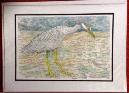 "HERON - 5 x 7"" art card by artist Nina Struthers - GIN ONLY"