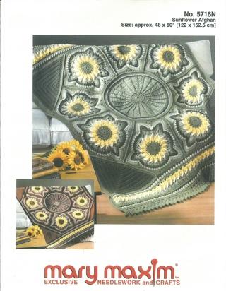 Free: Mary Maxim Crochet Sunflower Afghan Pattern - Crochet - Listia